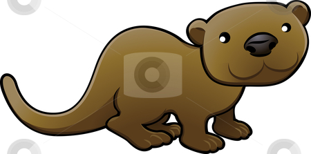 Sweet Otter Vector Illustration stock vector clipart, A vector illustration of a sweet friendly otter by Christos Georghiou