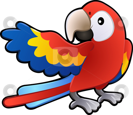Cute Friendly Macaw Parrot Illustration stock vector clipart, A vector illustration of a cute friendly Macaw Parrot by Christos Georghiou
