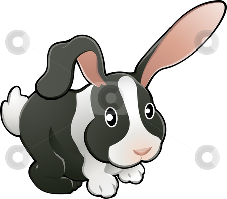Cute lovable rabbit vector illustration  stock vector clipart, A vector illustration of a cute lovable bunny rabbit. by Christos Georghiou