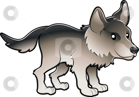 Cute Wolf Vector Illustration stock vector clipart, A vector illustration cute and friendly wolf by Christos Georghiou