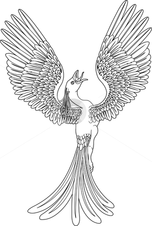 Monochrome phoenix stock vector clipart, A black and white phoenix in ...