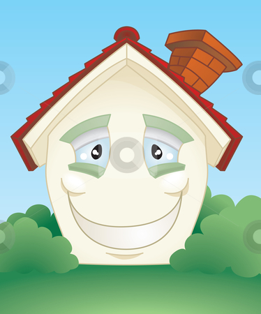 Happy smiling house character stock vector clipart, A cute smiling happy cartoon house character. by Christos Georghiou