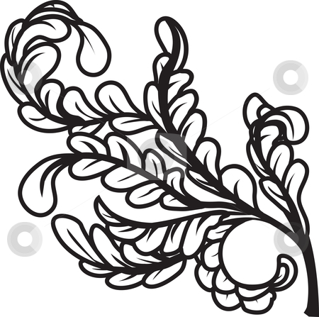 Black and white leaves stock vector clipart, A black and white leaves floral element design by Christos Georghiou