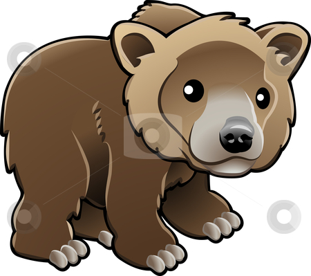 Cute Grizzly Brown Bear Vector Illustration stock vector clipart, A vector illustration of a cute grizzly,  brown  or Kodiak bear by Christos Georghiou