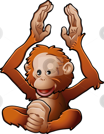 Cute Orang-utan Vector Illustration stock vector clipart, A vector illustration of a cute friendly Orangutan by Christos Georghiou