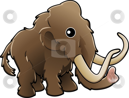 Cute woolly mammoth illustration stock vector clipart, A vector illustration of a cute friendly woolly mammoth by Christos Georghiou