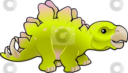 Cute friendly stegosaurus vector illustration stock vector clipart, A vector illustration of a cute friendly stegosaurus by Christos Georghiou