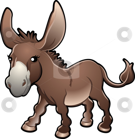 Cute Donkey Vector Illustration stock vector clipart, A vector illustration of a cute donkey by Christos Georghiou