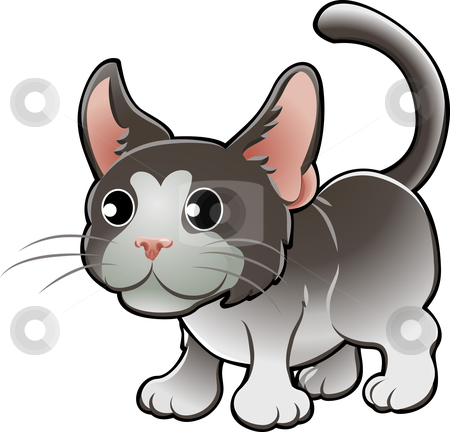 Cute Domestic Cat Vector Illustration stock vector clipart, A Vector Illustration of a Cute Domestic Cat by Christos Georghiou