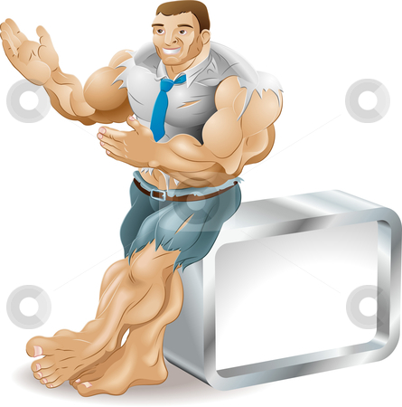 Muscular businessman stock vector clipart, A very muscular business man bursting out of his clothes. He is smiling and presenting something to his right. by Christos Georghiou