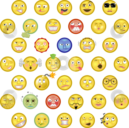 Emoticons stock vector clipart, An illustration of a set of emoticon smileys by Christos Georghiou