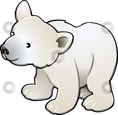 Cute Polar Bear Vector Illustration stock vector clipart, A vector illustration of a cute polar bear by Christos Georghiou