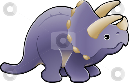 Cute triceratops dinosaur illustration stock vector clipart, A vector illustration of a cute friendly triceratops dinosaur by Christos Georghiou