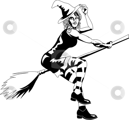 Black and white sexy witch stock vector clipart, An isolated young beautiful witch flying on her broomstick by Christos Georghiou