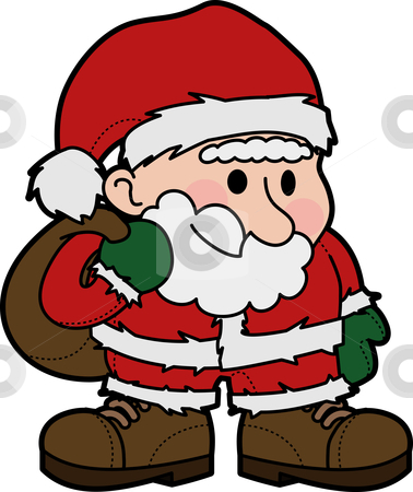 Illustration of Santa Claus stock vector clipart, Illustration of Father Christmas in Santa Claus outfit by Christos Georghiou