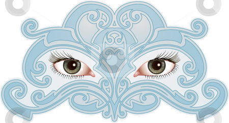 Eye Pattern stock vector clipart, Beautiful eyes surrounded by a mask like pattern by Christos Georghiou