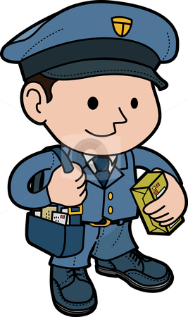 Illustration of mailman stock vector clipart, Illustration of mailman in uniform with post by Christos Georghiou