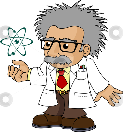 Illustration of nutty science professor stock vector clipart, Illustration of nutty science professor looking at galaxy by Christos Georghiou