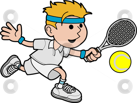 Illustration of male tennis player stock vector clipart, Illustration of male tennis player hitting ball with tennis racket by Christos Georghiou