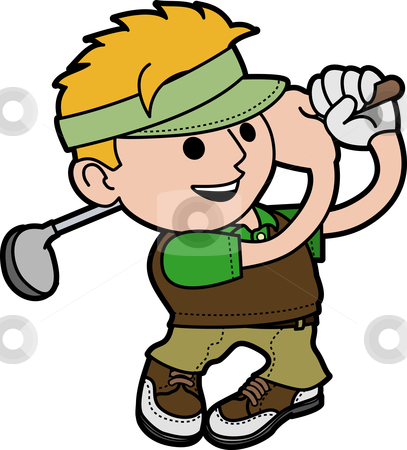 Illustration of young man golfing stock vector clipart, Illustration of young man swinging golf club by Christos Georghiou