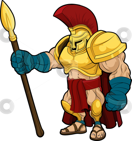 Illustration of Spartan gladiator stock vector clipart, Illustration of Spartan or Trojan gladiator in armor by Christos Georghiou