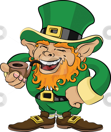 Illustration of St. Patrick's Day leprechaun stock vector clipart, Illustration of St. Patrick's Day leprechaun smoking a pipe by Christos Georghiou