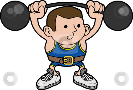 Illustration of male weightlifter stock vector clipart, Illustration of male weightlifter lifting barbells by Christos Georghiou