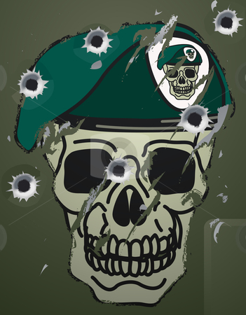 Retro skull and beret military motif stock vector clipart, A Retro skull and beret military motif on a damaged metal camp green surface with bullet holes in it. by Christos Georghiou