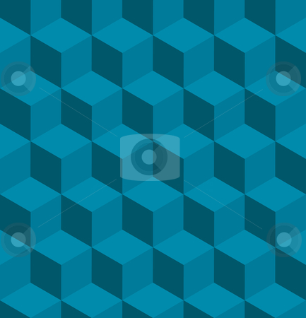 Seamless tilable isometric cube pattern stock vector clipart, A seamless tilable blue isometric cube pattern. Designed to look at its best when tiled by Christos Georghiou