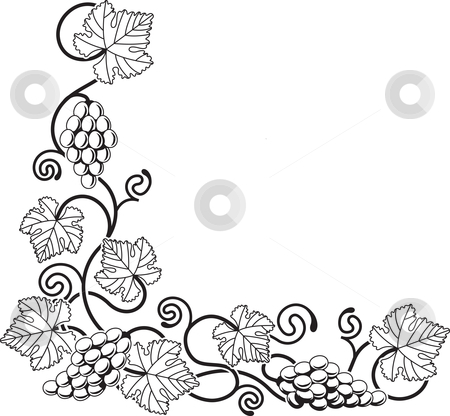 Grape vine design element stock vector clipart, A grape vine corner background design element ideal for any design relating to wine or with any Mediterranean theme. by Christos Georghiou