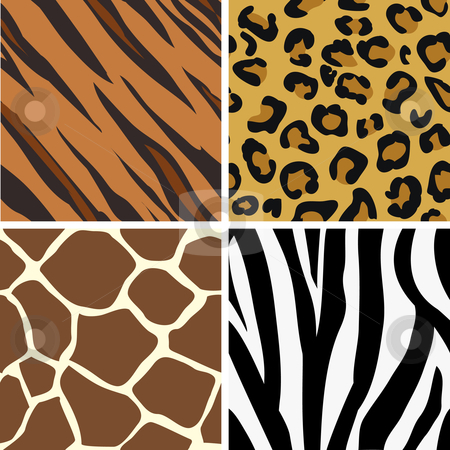Seamless tiling animal print patterns stock vector clipart, Seamless tiling animal print patterns of tiger, leopard, giraffe and zebra. Created especially to look at their best when tiled. by Christos Georghiou
