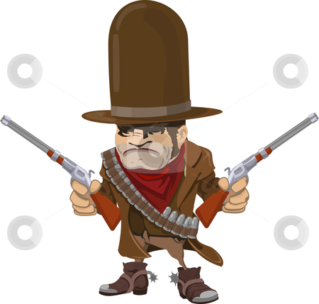 Cowboy gunman with rifles stock vector clipart, Illustration of cool mean looking cowboy gunman with rifles by Christos Georghiou