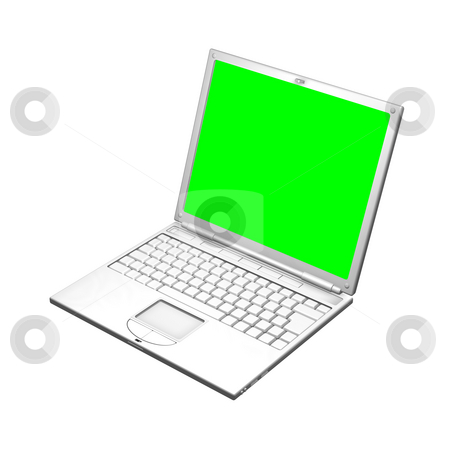 Illustration of an open laptop computer stock photo, An illustration of an open laptop computer. The screen is a uniform green to make it easier to mask out and replace with your own image. 3D object created especially for this series of illustrations by the artist. by Christos Georghiou