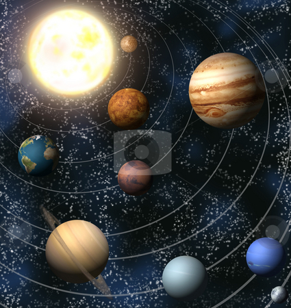 Solar System stock photo, An illustration of our solar system. Maps from http://planetpixelemporium.com/ by Christos Georghiou