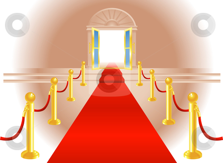 Red Carpet Entrance stock vector clipart, A red carpet leading up to a lavish door to an exclusive venue by Christos Georghiou