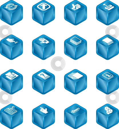 Applications Cube Icon Series Set stock vector clipart, A cube icon series set for computer applications. by Christos Georghiou