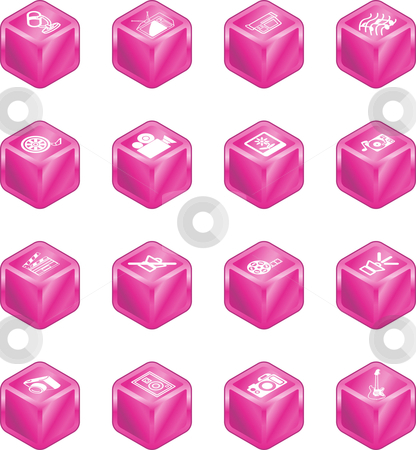 Cube Media Icon Series Set stock vector clipart, A series set of cube icons relating to various types of media. by Christos Georghiou