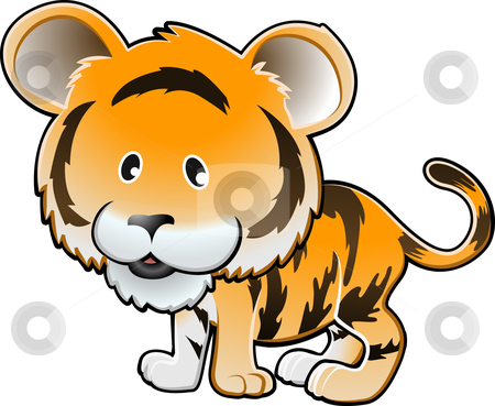Cute Tiger Vector Illustration stock vector clipart, A vector illustration of a cute tiger by Christos Georghiou