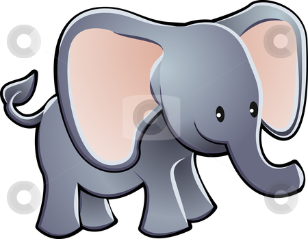 Lovable Elephant Cartoon Vector Illustration stock vector clipart, A lovable elephant children by Christos Georghiou