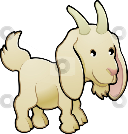 Cute Goat Farm Animal Vector Illustration stock vector clipart, A cute goat farm animal vector illustration by Christos Georghiou