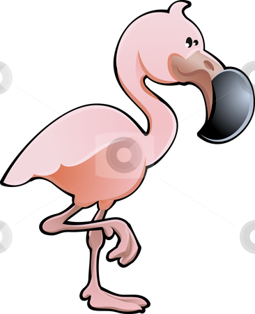 Cute Pink Flamingo Vector Illustration stock vector clipart, A vector illustration of a cute pink flamingo bird by Christos Georghiou