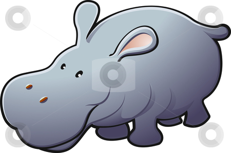 Cute Friendly Hippo Vector Illustration stock vector clipart, A vector illustration of a cute friendly hippopotamus by Christos Georghiou
