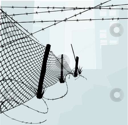 Chain Link Fence and Barbed Wire Vector Illustration stock vector clipart, Chain link fence and barbed wire vector illustration background or design elements. Silhouette elements are on separate layers in vector file so easily separated. by Christos Georghiou