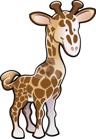Cute Giraffe Illustration stock vector clipart, A Cute giraffe children by Christos Georghiou