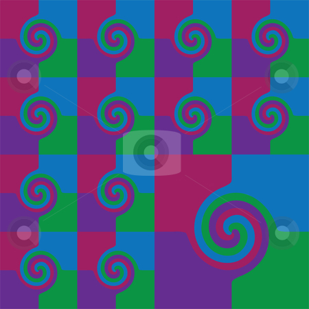 Spiral stock vector clipart, Contemporary spiral wallpaper in a continuous seamless pattern of green, blue, red and purple in a clean geometric design.  Vector image in jpg and eps. by Maggie Bates
