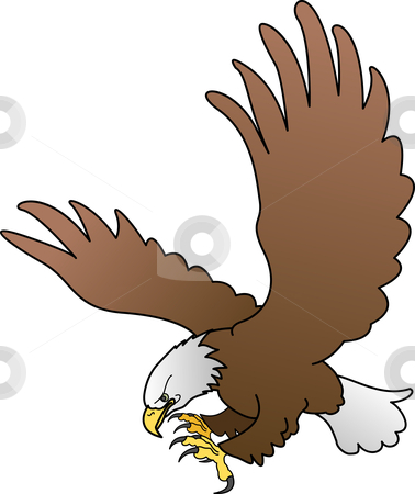 Illustration of bald eagle with spread wings stock vector clipart, Illustration of bald eagle with spread wings by Christos Georghiou