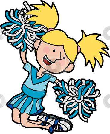 Illustration of cheerleader stock vector clipart, Illustration of girl cheerleading jumping in air by Christos Georghiou