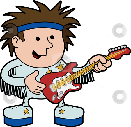 Illustration of rock and roll musician stock vector clipart, Illustration of rock and roll musician with electric guitar by Christos Georghiou