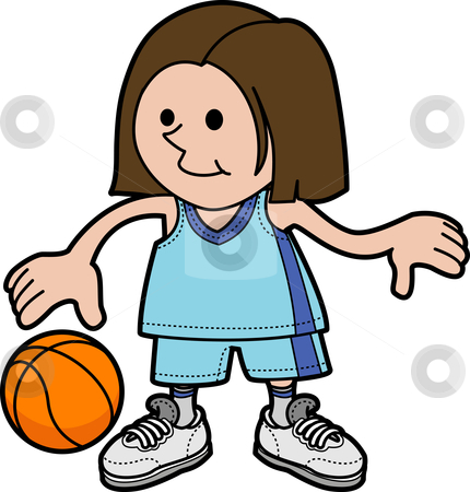 Illustration of girl playing basketball stock vector clipart, Illustration of young girl playing basketball and dribbling ball by Christos Georghiou