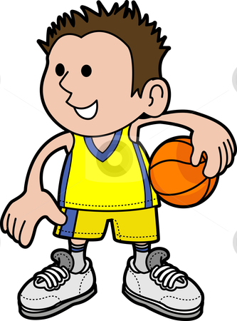 Illustration of boy basketball player stock vector clipart, Illustration of young boy holding basketball wearing sports uniform by Christos Georghiou